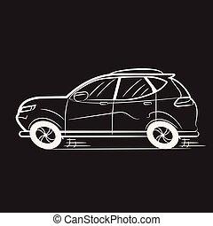 Car Drawn White Lines on Black School Blackboard. Icon. Sketch. Symbol. Sign.
