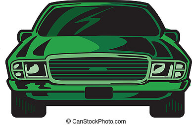 Cartoon Illustration Front View of Cool Sports Car