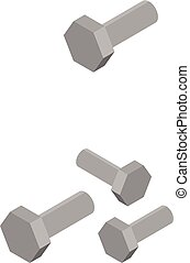 Car metal bolt icon, isometric style