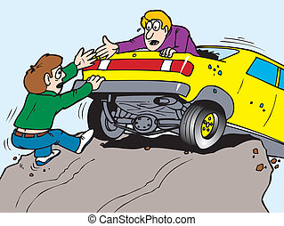 A man helping another man out of his car about to plunge over a cliff
