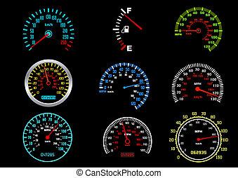 Set of car speedometers for racing design