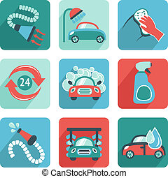 Car wash flat auto cleaner washer shower service isolated icons vector illustration