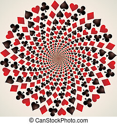 Card suit. Playing cards. Op art