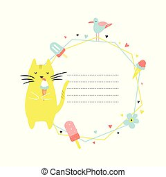 Card template with Funny cat eating ice cream