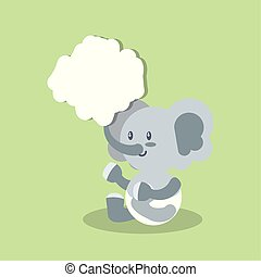 card with cute elephant baby animal