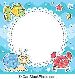 card with cartoon sea creatures, vector eps 10