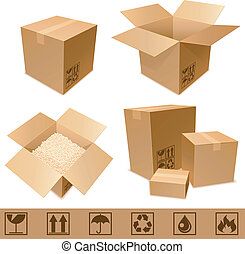 Set of cargo cardboard boxes and signs.