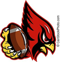 cardinal football mascot holding ball in claw for school, college or league