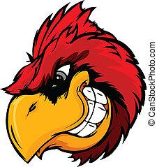 Cartoon Vector Mascot Image of a Cardinal or Red Bird Head