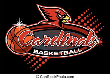 cardinals basketball team design with mascot for school, college or league