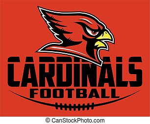 cardinals football team design with mascot head for school, college or league