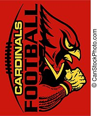 cardinals football team design with stitches and half mascot for school, college or league