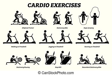Cardio exercises and fitness training at gym.