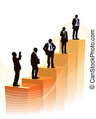 Successful people are standing on a large graph, vector illustration.