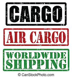Cargo, air cargo and worldwide shipping grunge rubber stamps, vector illustration
