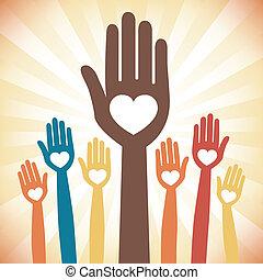 Caring loving hands design with a sunburst background.