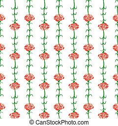 Carnation Seamless Pattern Background, Isolated on White Background. Vector Illustration.