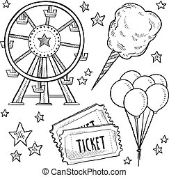 Doodle style amusement park or carnival equipment sketch in vector format. Includes cotton candy, ferris wheel, balloons, and ticket.