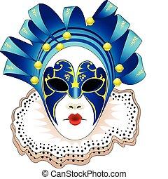 Carnival woman blue Mask Vector illustration