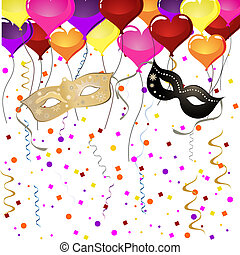 vector illustration of venetian masks and balloons on a colorful background