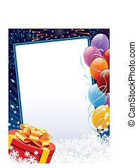 Carnival winter decoration with copy space, balloons and present, vector illustration.