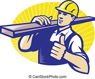 Illustration of a carpenter lumberyard worker carring plank of wood timber with thumbs up done in retro styl. e