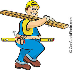 carpenter with a board and spirit level goes to work