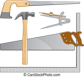 Illustration that can be used as a logo for carpenter or repairman. Includes hammer, saw. square, keyhole saw and compass.