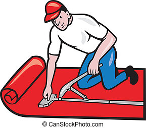 Illustration of a carpet layer laying down carpet layer carpet fitter worker done in cartoon style on isolated white background.