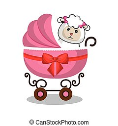 cart baby with cute stuffed animal