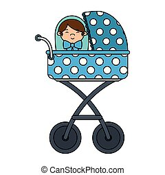 cart with cute little boy baby