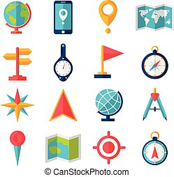 Cartography and geography tools accessories and symbol flat icon set isolated vector illustration