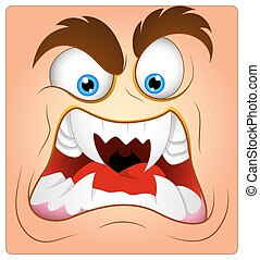 Aggressive Cartoon Monster Smiley Face Expression Vector Illustration