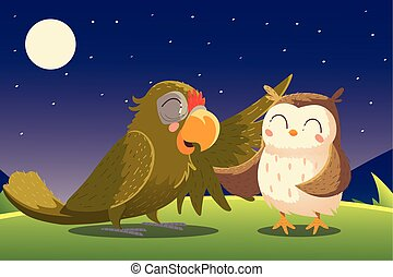 cartoon animals parrot and owl night nature
