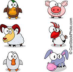 Some cartoon animals (duck, ram, goose, pig, cock, donkey).