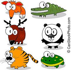 Some cartoon animals (fox, deer, tiger, crocodile, panda, frog).