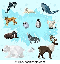 Cartoon arctic fauna set with different polar and snowy animals on ice background isolated vector illustration
