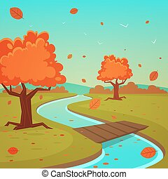 Cartoon Autumn Landscape