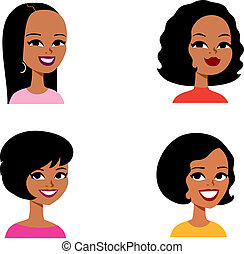 Set of 4 african women cartoon portraits in this file. There are a lot Avatar Sets in this Artist's growing Cartoon Portrait collection. Check Moneca's portfolio for more cartoon portraits like this.