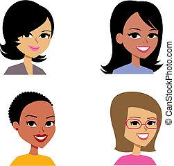 Cartoon Avatar Portrait Illustration Women