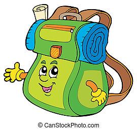 Cartoon backpack on white background - vector illustration.