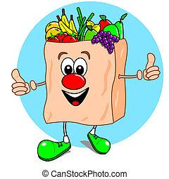 Cartoon bag of fruit & veg