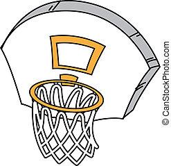 Cartoon Basketball Hoop, Net and Backboard