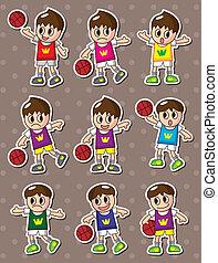 cartoon basketball player stickers