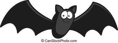 A happy cartoon bat flying and smiling.