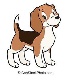 Cartoon vector illustration of a funny beagle for design element