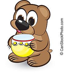 Cartoon bear and honey