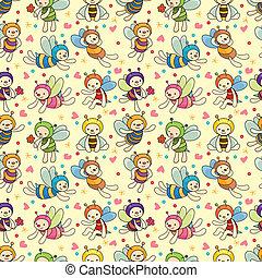 cartoon bee boy seamless pattern