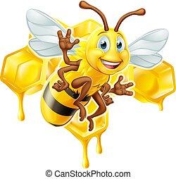 Cartoon Bee Character With Honeycomb