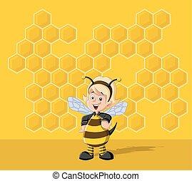 Cartoon bee girl